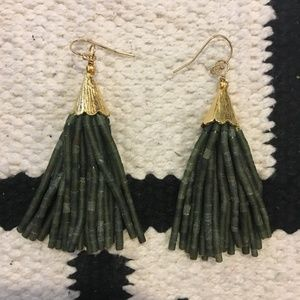 Green beaded tassel earrings Anthropologie